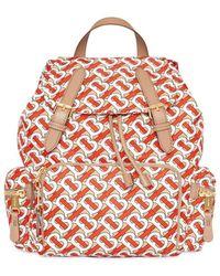 Burberry The Medium Rucksack Backpack In Vermillion Red Monogrammed Nylon