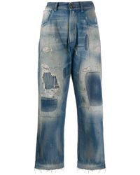 Maison Margiela Distressed Effect Denim Jeans - Blue
