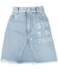 Givenchy Logo-print Denim Skirt - Blue