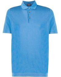 Drumohr Woven Polo Shirt - Blue