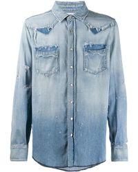 Saint Laurent Distressed Western Denim Shirt - Blue