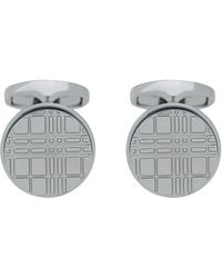 Burberry - Round Embossed Check Metal Cufflink - Lyst