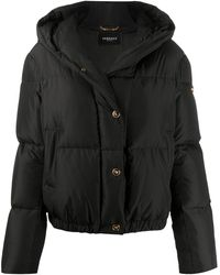 Versace Barocco Acanthus Print Puffer Jacket - Black
