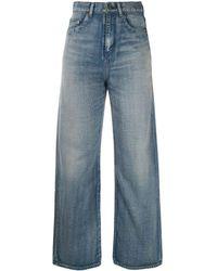 Saint Laurent Jeans taglio straight effetto schiarito - Blu