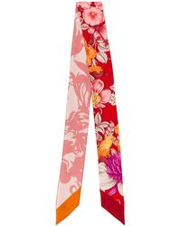 Ferragamo Floral Print Silk Neck Bow - Red