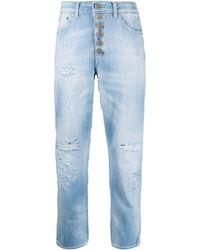 Dondup Jeans con effetto vissuto crop - Blu