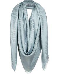 Fendi Silk Wool Blend Scarf - Blue