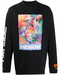 Heron Preston Heron Print Long Sleeve T-shirt - Black