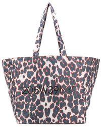 CALVIN KLEIN 205W39NYC Leopard Print Tote Bag - Blue