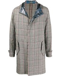 Emporio Armani Hooded Checked Print Coat - Blue
