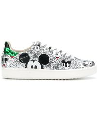 MOA - Mickey Glittered Leather Trainers - Lyst