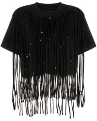 Isabel Marant Bianea Fringe-embellished Cotton T-shirt - Black