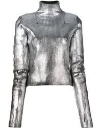 MM6 by Maison Martin Margiela - Turtleneck Metallic Knitted Jumper - Lyst
