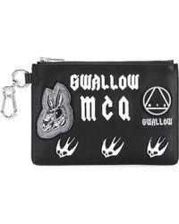 McQ - Logo Print Leather Clutch - Lyst