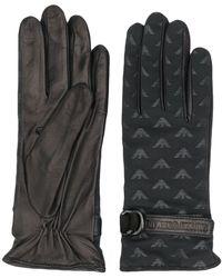Emporio Armani Logo Print Leather Gloves - Black