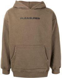Pleasures Logo Print Hoodie - Brown