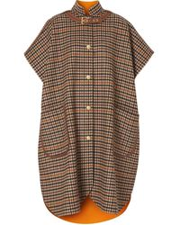 Burberry Check-print Buckle-detail Cape - Brown