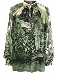 F.R.S For Restless Sleepers Silk Printed Shirt - Green