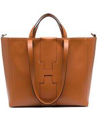 Hogan - Debossed Logo Leather Tote - Lyst