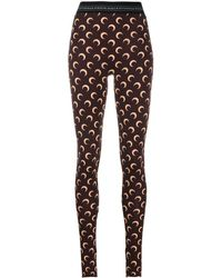 Marine Serre Moon Print leggings - Brown