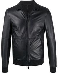 Emporio Armani Leather Jacket - Blue