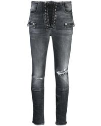 Unravel Project Skinny Lace Up Pants - Black