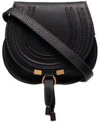Chloé Marcie Medium Leather Cross-Body Bag  - Black