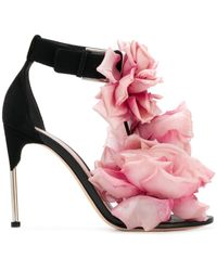 Alexander McQueen Floral Embellished Sandals - Black