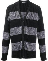 Balenciaga Logo-print Striped Cardigan - Black