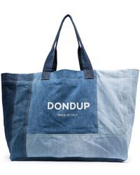Dondup Logo-print Patchwork Denim Tote Bag - Blue