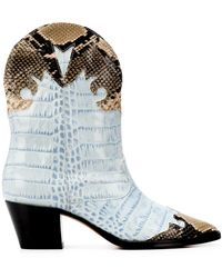 Paris Texas Python-effect Ankle Boots - Blue