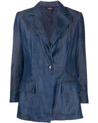Emporio Armani Single-breasted Denim Blazer - Blue