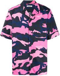 Valentino Camouflage Print Shortsleeved Shirt - Pink