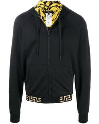 Versace Greca Border Zip-up Hoodie - Black