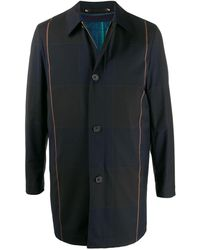 Paul Smith Plaid Print Coat - Blue