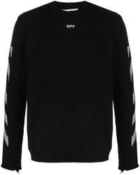 Off-White c/o Virgil Abloh Diagonal-stripe Pattern Long-sleeve Top - Black