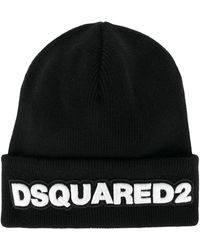 DSquared² Logo Patch Beanie - Black