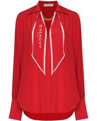 Givenchy Scarf Logo Print Detail Blouse - Red