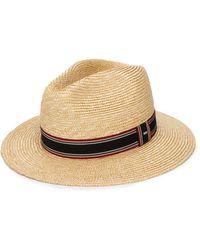 Saint Laurent Stripe Detail Panama Hat - Natural