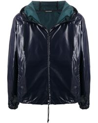Emporio Armani Faux-leather Hooded Jacket - Blue