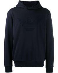 Emporio Armani Eagle Embroidered Hoodie - Black