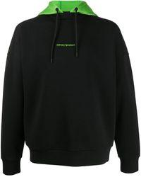 Emporio Armani Hooded Logo Jumper - Black