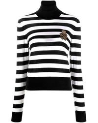 Dolce & Gabbana Striped Crest Logo Sweater - Black