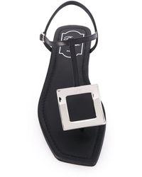 Roger Vivier Bikiviv Leather Thong Sandals - Black