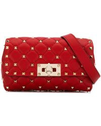 Valentino Garavani Rockstud Spike Leather Belt Bag - Red