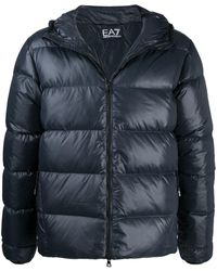 EA7 Hooded Down Jacket - Blue