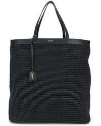 Saint Laurent Raffia Tote Bag - Black