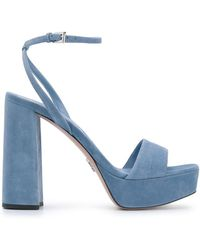Prada Chunky Heel 125mm Platform Sandals - Blue