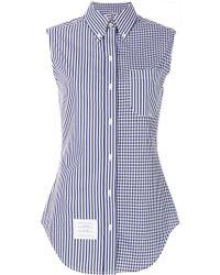 Thom Browne - Sleeveless Striped Checkered Shirt - Lyst