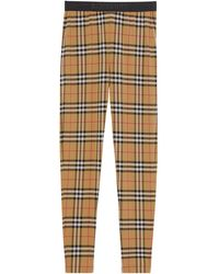 Burberry Checked Leggings - Natural